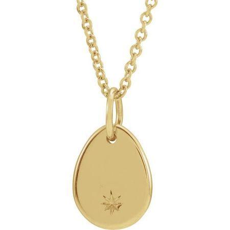 Diamond Necklace in 14 Karat Yellow Gold Pear Starburst 16-18