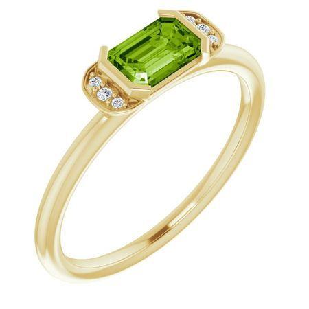 Genuine Peridot Ring in 14 Karat Yellow Gold Peridot & .02 Carat Diamond Stackable Ring