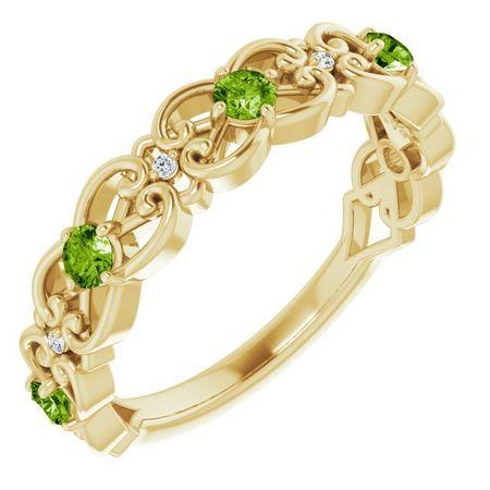 Genuine Peridot Ring in 14 Karat Yellow Gold Peridot & .02 Carat Diamond Vintage-Inspired Scroll Ring