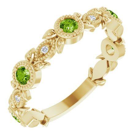 Genuine Peridot Ring in 14 Karat Yellow Gold Peridot & .03 Carat Diamond Leaf Ring