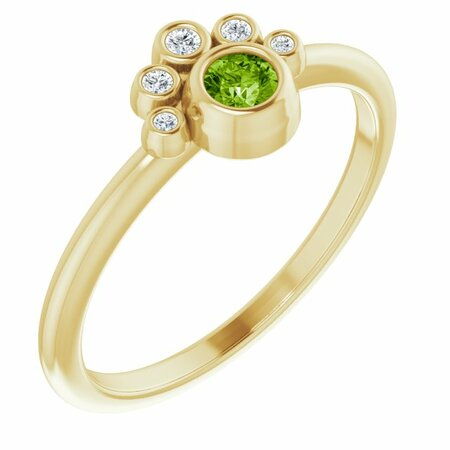 Genuine Peridot Ring in 14 Karat Yellow Gold Peridot & .04 Carat Diamond Ring