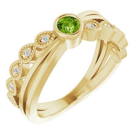 Genuine Peridot Ring in 14 Karat Yellow Gold Peridot & .05 Carat Diamond Ring