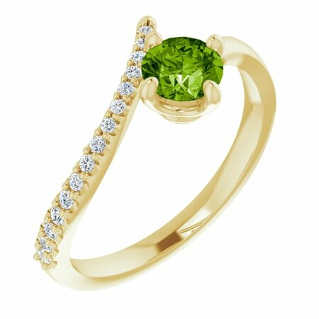 Genuine Peridot Ring in 14 Karat Yellow Gold Peridot & 1/10 Carat Diamond Bypass Ring
