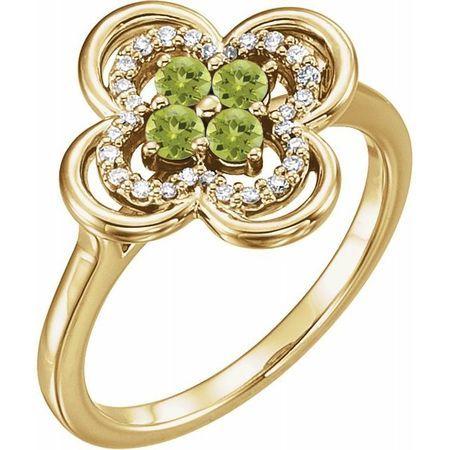 Genuine Peridot Ring in 14 Karat Yellow Gold Peridot & 1/10 Carat Diamond Ring