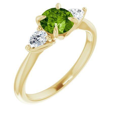 Genuine Peridot Ring in 14 Karat Yellow Gold Peridot & 1/4 Carat Diamond Ring