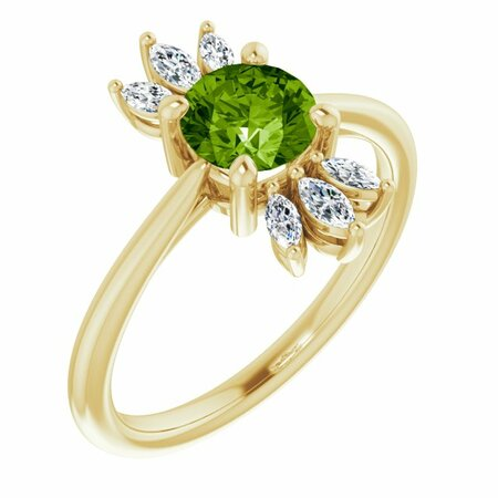 Genuine Peridot Ring in 14 Karat Yellow Gold Peridot & 1/4 Carat Diamond Ring