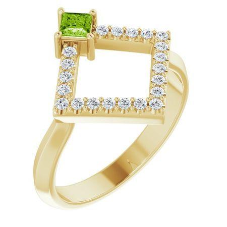 Genuine Peridot Ring in 14 Karat Yellow Gold Peridot & 1/5 Carat Diamond Geometric Ring