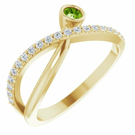 Genuine Peridot Ring in 14 Karat Yellow Gold Peridot & 1/5 Carat Diamond Ring