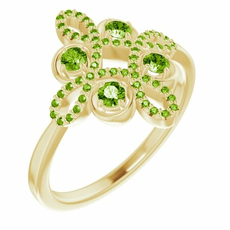 Genuine Peridot Ring in 14 Karat Yellow Gold Peridot & 1/6 Carat Diamond Clover Ring