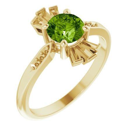 Genuine Peridot Ring in 14 Karat Yellow Gold Peridot & 1/6 Carat Diamond Ring