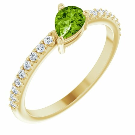 Genuine Peridot Ring in 14 Karat Yellow Gold Peridot & 1/6 Carat Diamond Stackable Ring