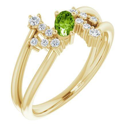 Genuine Peridot Ring in 14 Karat Yellow Gold Peridot & 1/8 Carat Diamond Bypass Ring