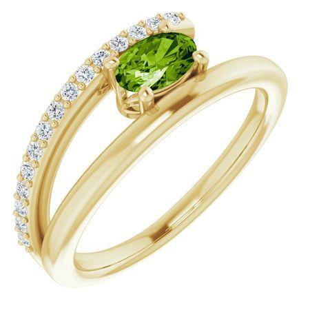 Genuine Peridot Ring in 14 Karat Yellow Gold Peridot & 1/8 Carat Diamond Ring