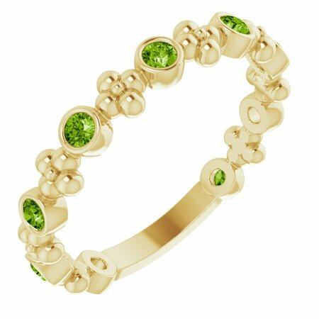 Genuine Peridot Ring in 14 Karat Yellow Gold Peridot Beaded Ring