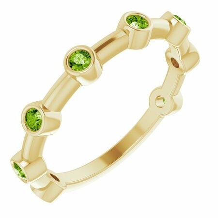Genuine Peridot Ring in 14 Karat Yellow Gold Peridot Bezel-Set Bar Ring
