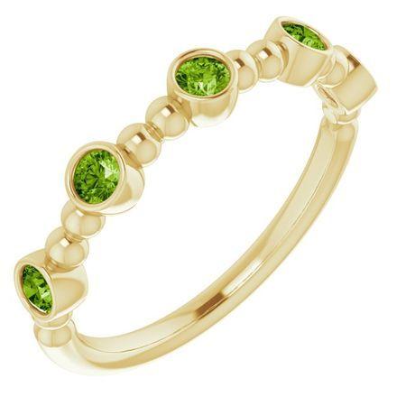 Genuine Peridot Ring in 14 Karat Yellow Gold Peridot Stackable Beaded Ring