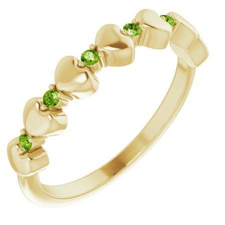 Genuine Peridot Ring in 14 Karat Yellow Gold Peridot Stackable Heart Ring