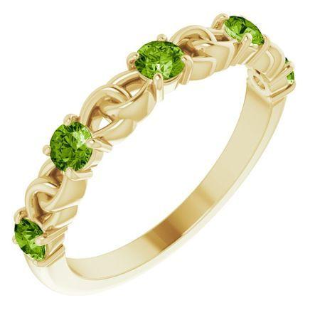 Genuine Peridot Ring in 14 Karat Yellow Gold Peridot Stackable Link Ring