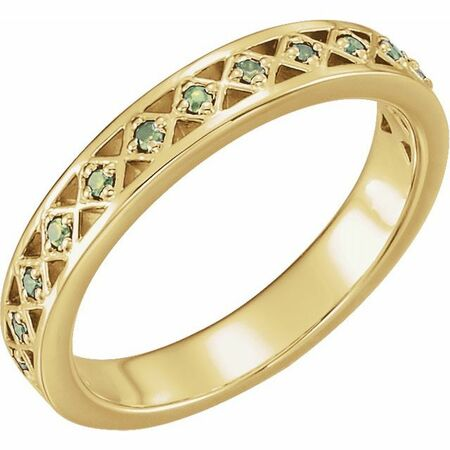 Genuine Peridot Ring in 14 Karat Yellow Gold Peridot Stackable Ring