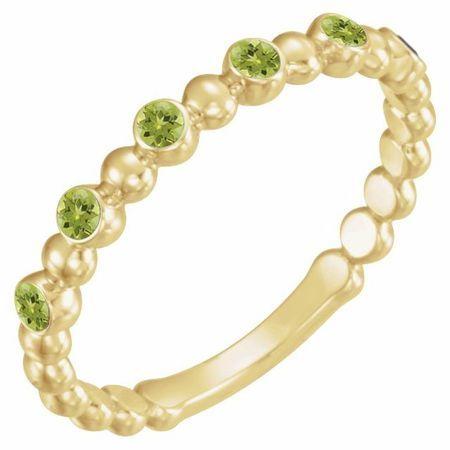 Genuine Peridot Ring in 14 Karat Yellow Gold Peridot Stackable Ring