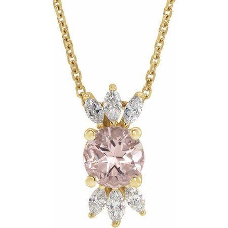 Pink Morganite Necklace in 14 Karat Yellow Gold Pink Morganite & 1/4 Carat Diamond 16-18
