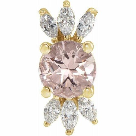 Pink Morganite Pendant in 14 Karat Yellow Gold Pink Morganite & 1/4 Carat Diamond Pendant