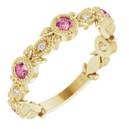 Pink Tourmaline Ring in 14 Karat Yellow Gold Pink Tourmaline & .03 Carat Diamond Leaf Ring