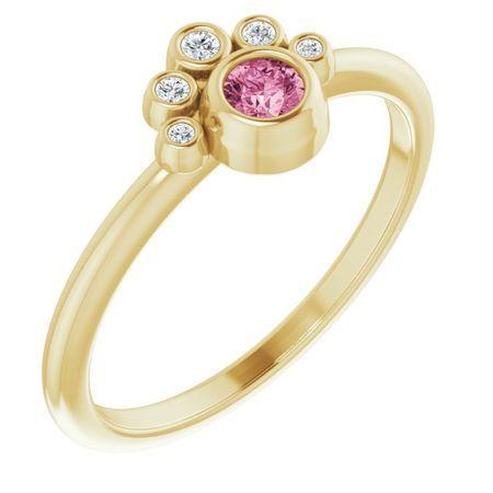 Pink Tourmaline Ring in 14 Karat Yellow Gold Pink Tourmaline & .04 Carat Diamond Ring