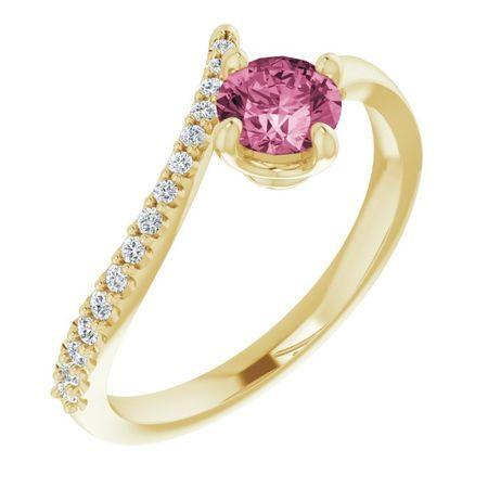 Pink Tourmaline Ring in 14 Karat Yellow Gold Pink Tourmaline & 1/10 Carat Diamond Bypass Ring