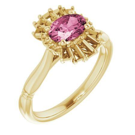 Pink Tourmaline Ring in 14 Karat Yellow Gold Pink Tourmaline & 1/4 Carat Diamond Ring