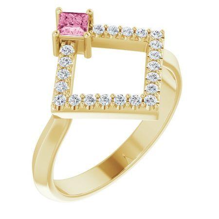 Pink Tourmaline Ring in 14 Karat Yellow Gold Pink Tourmaline & 1/5 Carat Diamond Geometric Ring