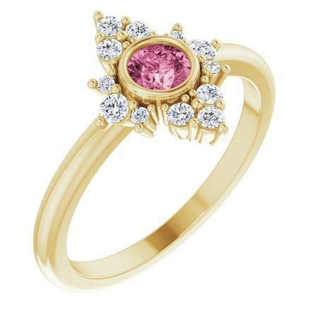 Pink Tourmaline Ring in 14 Karat Yellow Gold Pink Tourmaline & 1/5 Carat Diamond Ring