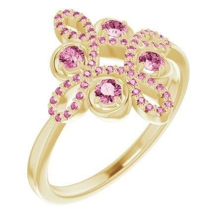 Pink Tourmaline Ring in 14 Karat Yellow Gold Pink Tourmaline & 1/6 Carat Diamond Clover Ring