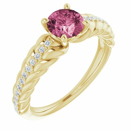 Pink Tourmaline Ring in 14 Karat Yellow Gold Pink Tourmaline & 1/8 Carat Diamond Ring