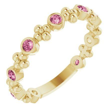 Pink Tourmaline Ring in 14 Karat Yellow Gold Pink Tourmaline Beaded Ring