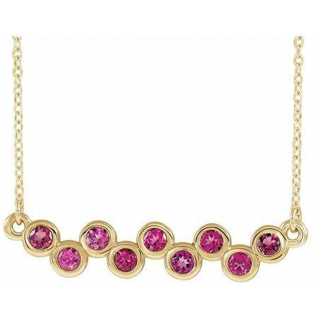 Pink Tourmaline Necklace in 14 Karat Yellow Gold Pink Tourmaline Bezel-Set Bar 16-18