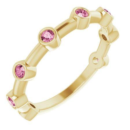 Pink Tourmaline Ring in 14 Karat Yellow Gold Pink Tourmaline Bezel-Set Bar Ring
