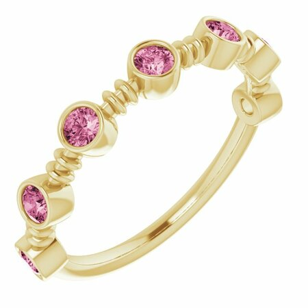Pink Tourmaline Ring in 14 Karat Yellow Gold Pink Tourmaline Bezel-Set Ring