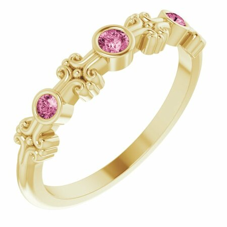 Pink Tourmaline Ring in 14 Karat Yellow Gold Pink Tourmaline Bezel-Set Ring