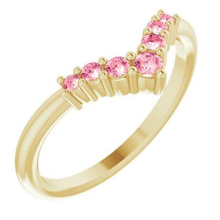 Pink Tourmaline Ring in 14 Karat Yellow Gold Pink Tourmaline Graduated