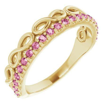 Pink Tourmaline Ring in 14 Karat Yellow Gold Pink Tourmaline Infinity-Inspired Stackable Ring