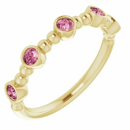 Pink Tourmaline Ring in 14 Karat Yellow Gold Pink Tourmaline Stackable Beaded Ring