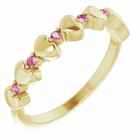 Pink Tourmaline Ring in 14 Karat Yellow Gold Pink Tourmaline Stackable Heart Ring