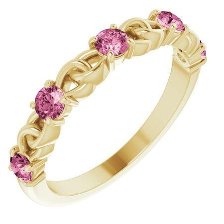Pink Tourmaline Ring in 14 Karat Yellow Gold Pink Tourmaline Stackable Link Ring