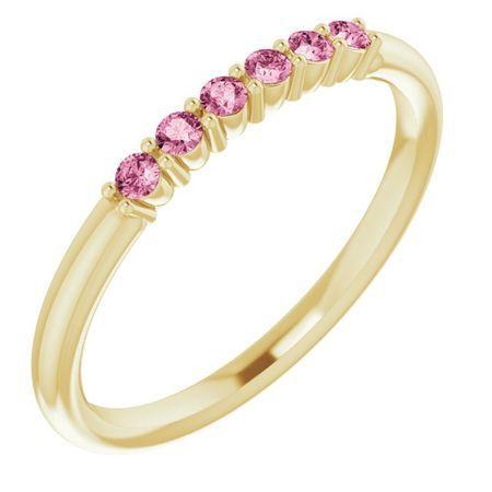Pink Tourmaline Ring in 14 Karat Yellow Gold Pink Tourmaline Stackable Ring