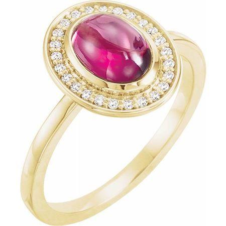 Red Garnet Ring in 14 Karat Yellow Gold Rhodolite Garnet & 1/10 Carat Diamond Halo-Style Ring