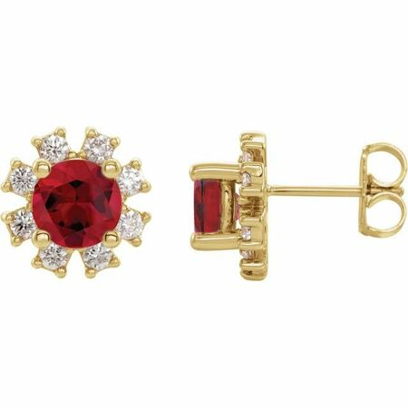 Genuine Ruby Earrings in 14 Karat Yellow Gold Ruby & .07 Carat Diamond Earrings