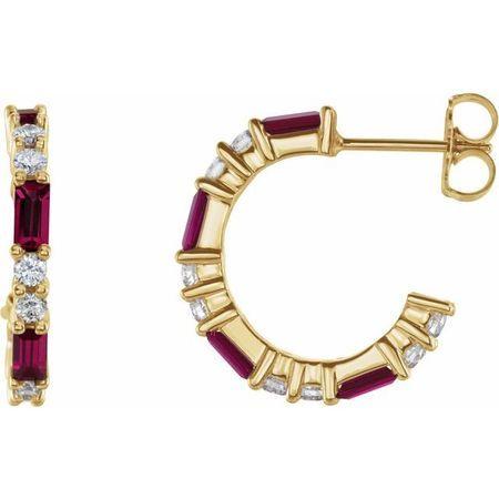 Genuine Ruby Earrings in 14 Karat Yellow Gold Ruby & 1/2 Carat Diamond Earrings