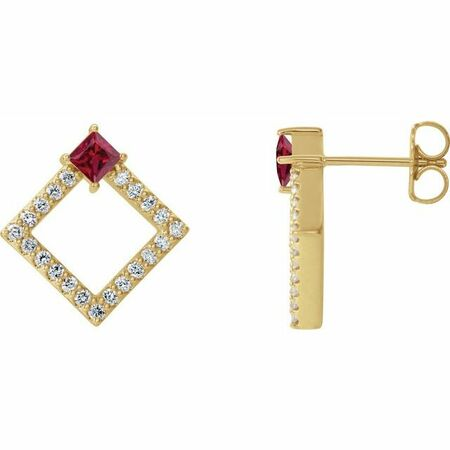 Genuine Ruby Earrings in 14 Karat Yellow Gold Ruby & 1/3 Carat Diamond Earrings