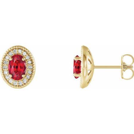 Genuine Ruby Earrings in 14 Karat Yellow Gold Ruby & 1/5 Carat Diamond Halo-Style Earrings